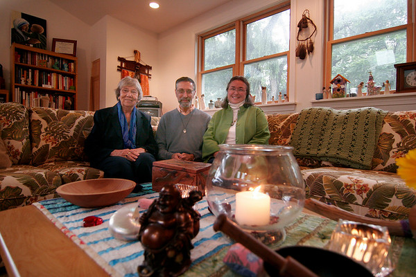 Amesbury: The coordinators of the Massachusetts campus of ChIME, the Chaplancy Institute of Maine, Chaplain Annie Tunstall, left, Reverend Joel Grossman, center and Reverend Helen Rankin, all Interfaith Ministers, gather at their meeting place in Amesbury. Photo by Ben Laing/Staff Photo