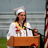 Amesbury: Aislyn Schalck, valedictorian of the Class of 2009 at Amesbury High School, gives her address during Friday night's graduation ceremony. Photo by Ben Laing/Staff Photo