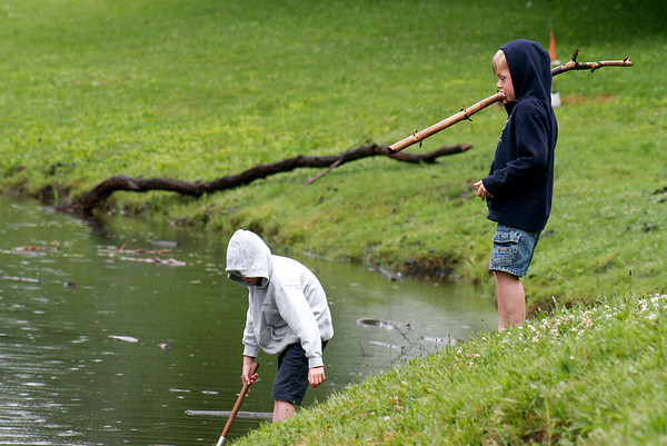 Amesbury: George Miller, 8, left, and his brother Chris, 5, right, spent Sunday morning hunting frogs at the Amesbury Town Park, despite the rain. Photo by Ben Laing/Staff Photo