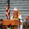 Amesbury: Katelyn Moore, President of the Class 2009 at Amesbury High School, gives the opening address at Friday night's graduation ceremony. Photo by Ben Laing/Staff Photo