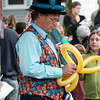 Amesbury: Mr. Dees, the Balloon Man, twists his latest creation during Wednesday nights kickoff to the Amesbury Days celebration. Photo by Ben Laing/Staff Photo