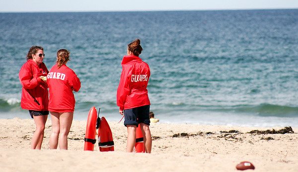 Salisbury: Lifeguards at the Salisbury Beach Reservation are a sure sign that summer is approaching, and with Monday's nice weather, there were plenty of people at the beach. Photo by Ben Laing/Staff Photo