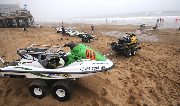 Salsibury: Water craft line up before the begining of the SeaDoo races at the Sand and Sea Festival on Salisbury Beach Saturday. Jim Vaiknoras/Staff photo