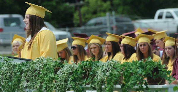 Newburyport: Newburyport  senior Margaret Theriault gives the reflection during the graduation ceremony Sunday afternoon at World War Memorial Stadium.Jim Vaiknoras/staff photo