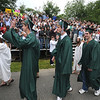 West Newbury: Seniors march onto the football field Pentucket Graduation Saturday morning.Jim Vaiknoras/staff photo