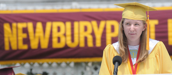 Newburyport: Newburyport Salutatorian Ada Horne give her address during the graduation ceremony Sunday afternoon at World War Memorial Stadium.Jim Vaiknoras/staff photo