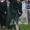 West Newbury: Nicholas Scannell pumps his fist after getting his diploma at the Pentucket Graduation Saturday morning.Jim Vaiknoras/staff photo