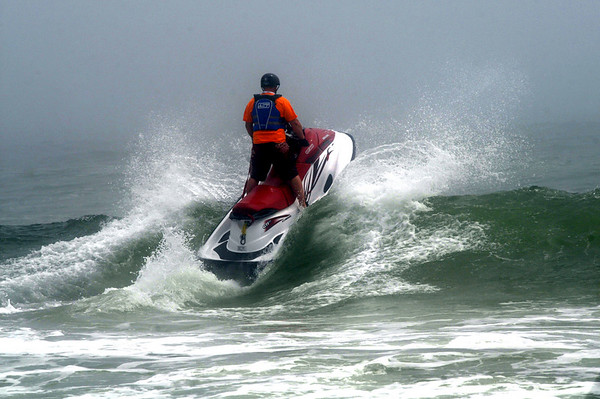 Salsibury: On of the participants hit a wave during the SeaDoo races at the  Sand and Sea Festival on Salisbury Beach Saturday. Jim Vaiknoras/Staff photo