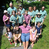 Newburyport;  Breast cancer survivor Diane Hansen and her family, husband Eric, daughter Antastasia and son Daniel, pose with Hope in Bloom members Julie McIntosh- Shapiro, Lynn Felici-Gallant, Beth Schroeder, Karin and Zoe Stanley, Fran Gustman, Laura Eisener and Pam Burrows who worked to create a sea-themed garden in the Hanson's backyard. Jim Vaiknoras/Staff photo