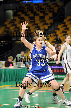 Boston: Georgetown's Taryn O'Connell (33) posts up in the paint during Monday's state championship game against Millis. Photo by Ben Laing/Newburyport Daily News Monday March 9, 2009.