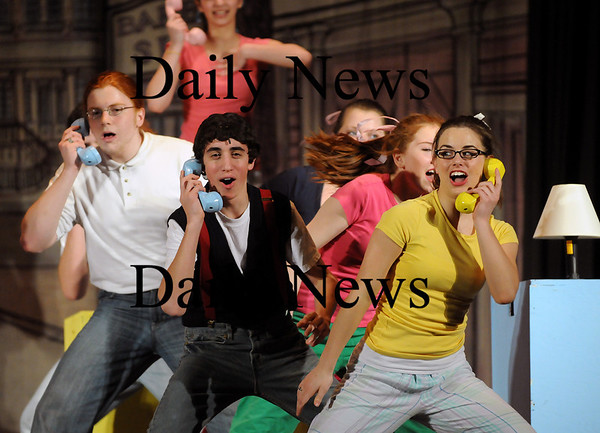 """Pentucket: Students at Pentucket Regional High School rehearse for their spring musical, """"Bye, Bye, Birdie"""". The show is set to open on March 12. Photo by Ben Laing/Staff Photo"""