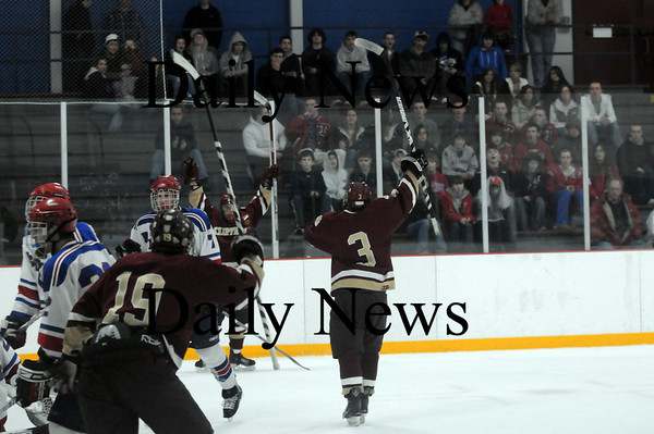 Stoneham: Newburyport's Kyle McElroy (3) celebrates after scoring a first period goal in Tuesday night's game against Tewksbury. Photo by Ben Laing/Newburyport Daily News Tuesday March 3, 2009.