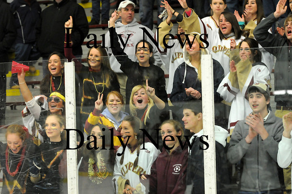 Chelmsford: The Clippers student section goes wild after Newburyport defeats Lincoln-Sudbury 3-1 in Chelmsford. Photo by Ben Laing/Newburyport Daily News Thursday March 5, 2009.