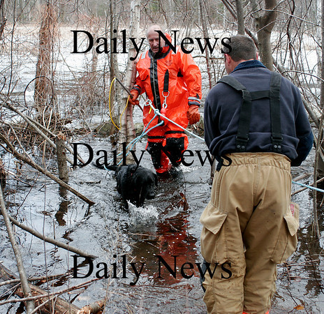 West Newbury: West Newbury firefighter Bob Janes pulled Charlie, the black lab, from the icy water near the Moulton Street resivior with the help of fellow fire fighter, Lt. Greg Evans, right. Photo by Ben Laing/Staff Photo