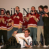 Newburyport: The Clippers hockey team was on display at Friday afternoon's pep rally at Newburyport High. Newburyport will play Canton on Saturday for the Division 2 Eastern Mass. title.  Photo by Ben Laing/Newburyport Daily News Friday March 6, 2009.