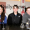 Newburyport: Newburyport High School freshman Alexis Cole, and sophmore teammates Matt Orlando, center, and Pete Furlong, right, finished among the 40 winners of the regional science fair. The trio will advance to the state science fair at MIT at the end of April. Photo by Ben Laing/Staff Photo