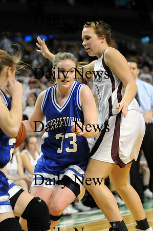 Boston: Georgetown's Taryn O'Connell (33) beats her Millis defender during Monday's state championship game in Boston. Photo by Ben Laing/Newburyport Daily News Monday March 9, 2009.