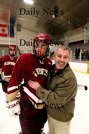 Chelmsford: Coach Paul Yameen congradulates Derek Freeman after the Clippers defeated Lincoln-Sudbury 3-1 in the North Sectional Final Thursday night. Photo by Ben Laing/Newburyport Daily News Thursday March 5, 2009.