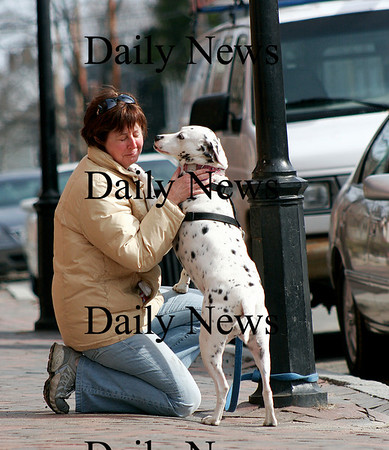 Newburyport: Kim Dunne of Stoneham is greeted by her dog Bella after stepping out of of Pralines Bakery in downtown Newburyport on Monday. Photo by Ben Laing/Staff Photo