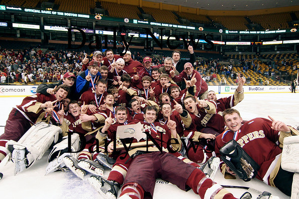 Boston: The Clippers celebrate their first ever state hockey championship after defeating Canton 4-3 in overtime. Photo by Ben Laing/Newburyport Daily News Saturday March 7, 2009.<br /> , Boston: The Clippers celebrate their first ever state hockey championship after defeating Canton 4-3 in overtime. Photo by Ben Laing/Newburyport Daily News Saturday March 7, 2009.