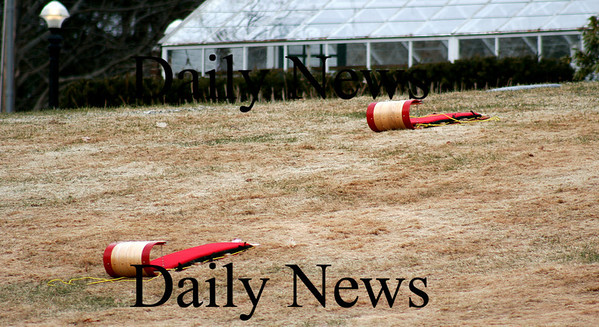 Newbury: Two tabbogans lie dormant in the yard of a High Road residence as the warm weather has melted most of the snow in the area. Photo by Ben Laing/Staff Photo