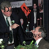 Newburyport:<br /> Mayor John Moak jokes to David Tibbett's to start being nice.<br /> Photo by Bryan Eaton/Newburyport Daily News Tuesday, March 17, 2009