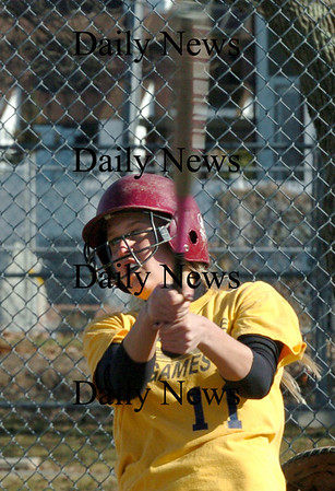 Newburyport:<br /> Newburyport High's Lindsey Tomasz at bat practice.<br /> Photo by Bryan Eaton/Newburyport Daily News Tuesday, March 31, 2009