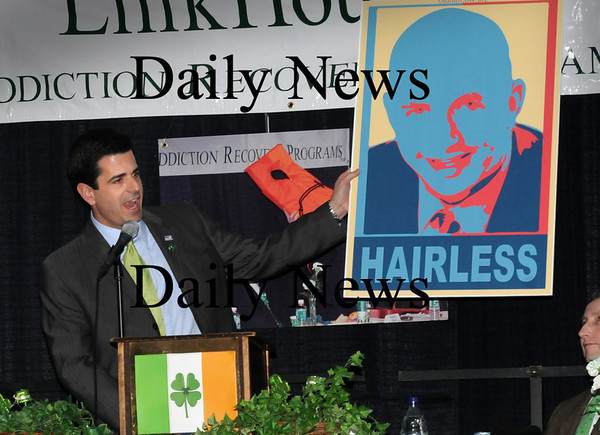Newburyport:<br /> Sen. Steve Baddour continued his poking fun a colleague Rep. Michael Costello's bare pate at yesterday's St. Patrick's Day Luncheon.<br /> Photo by Bryan Eaton/Newburyport Daily News Tuesday, March 17, 2009