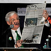 "Newburyport:<br /> Charlie Cullen mentions a story from the Daily News about Sen. Steve Baddour and Rep. Michael Costello expensing some meals then sang to the tune of the Beatle's song ""Eight Days a Week"" to ""Eight Meals a Week.""<br /> Photo by Bryan Eaton/Newburyport Daily News Tuesday, March 17, 2009"