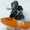 Newburyport:<br /> Walker Bartkiewicz, 7, goes over a snow jump at March's Hill in Newburyport yesterday afternoon as children in the area got another day off due to a foot of snow that fell.<br /> Photo by Bryan Eaton/Newburyport Daily News Monday, March 02, 2009