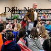 Newburyport:<br /> Author-illustrator David McPhail of Newburyport spoke to students at the Molin School about his profession on Thursday hoping to promote awareness about reading. His is one of two honorees being noted at this April's annual Newburyport Literary Festival.<br /> Photo by Bryan Eaton/Newburyport Daily News Thursday, March 19, 2009