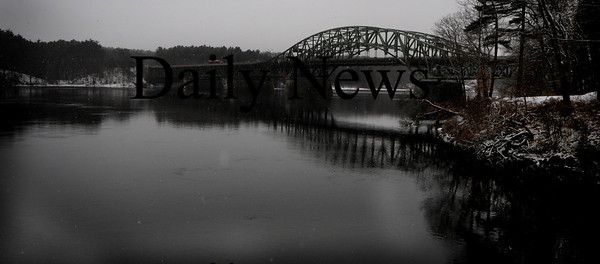 Amesbury; Snow falls on a still Merrimack River early Sunday.photo by Jim Vaiknoras, Newburyport Daily News, Saturday February 28, 2009
