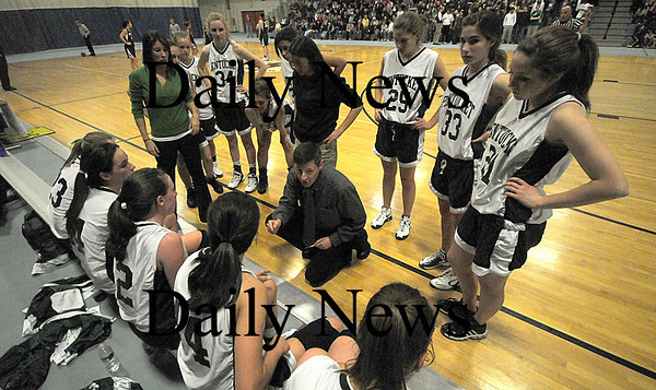 Methuen:Pentucket's John McNamara talks with his team during the Sachems 38-27 win over St Mary's at Methuen High Thursday night. photo by Jim Vaiknoras Newburyport Daily News, Thursday March 5, 2009