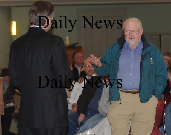 Newburyport:Dick Chase of Newbury askes Congressman John Teirney a question about local farming at Newburyport City Hall Saturday.Jim Vaiknoras/staff photo