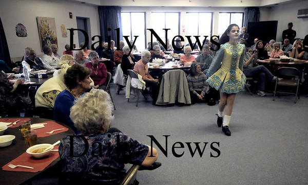 Amesbury: Ceili Riccio from the Bracken School of Irish Dance in Salisbury performs at the  Heritage Towers Sunday afternoon. Jim Vaiknoras/Staff photo