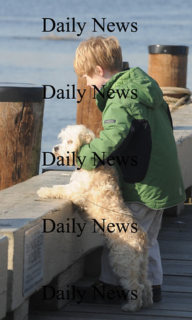 Newburyport: Holden Kuzniar, 6, and his dog Febe, check out the Merrimack River while enjoying Market Landing Park Saturday with their family. Jim Vaiknoras/Staff photo