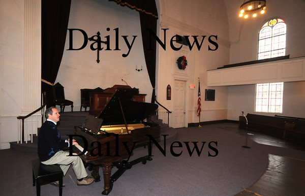 Newburyport:Rev. Ross Varney at Belleville Congregational Church where he will perfom the soings on his CD during a concert next weekend. Jim Vaiknoras/Staff photo