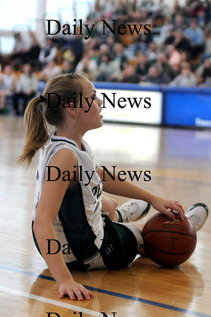 Boston: Pentucket's Emily Lane looks up after being called for traveling during the Sachems 61-46 loss to Swampscott in the North final at Emmanuel College in Boston Saturday photo by Jim Vaiknoras March 7, 2009