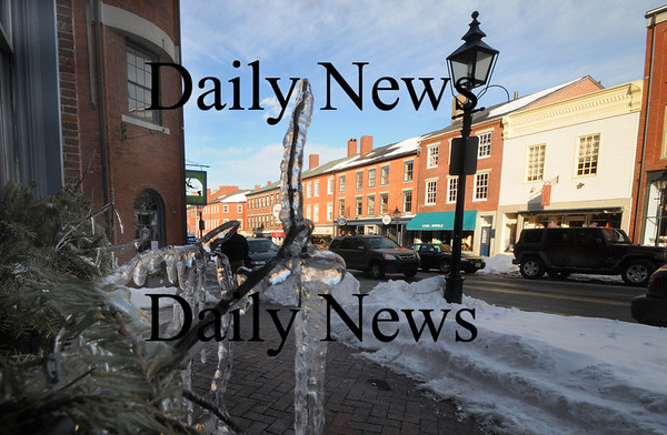 Newburyport:Ice from dripping water line the building along State Street in Newburyport.photo by Jim Vaiknoras. Newburyport Daily News, Wednesday March 4, 2009
