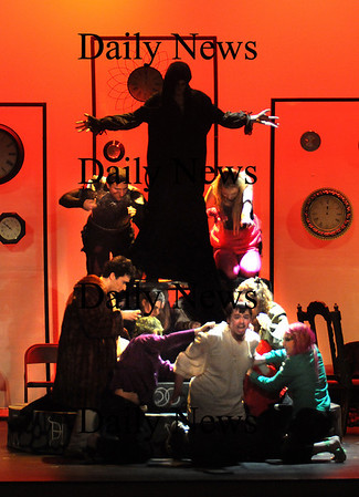 "Newburyport:Lucifer , played by Ben Bertrand, along with the Seven Deadly Sins, watches over the damnation of Faustus in teh Wakefield High School performance of ""The Tragical History of Doctor Faustus"" at the Massachusetts High School Drama Guild Festival at Newburyport High Saturday.photo by Jim Vaiknoras, Newburyport Daily News, Saturday February 28, 2009"
