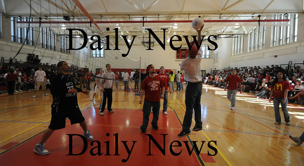 Amesbury: Students battle during a  volley ball game after the annual Teachers Choice Awards in the gym at Amesbury High school. Jim Vaiknoras/Staff Photo