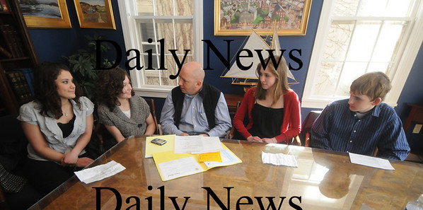 Newburyport: Haley Morris, Rosie Preston, Ecelina Rossi, and John Landergan take with Rep Mike Costello about an anti-smoking video they are producing.Jim Vaiknoras/Staff photo