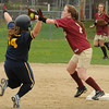 Newburyport: Newburyport's Rachel Notargiacomo forces Lynnfield's Katie Rowe out at second plate. Bryan Eaton/Staff Photo Newburyport News  Monday May 4, 2009.