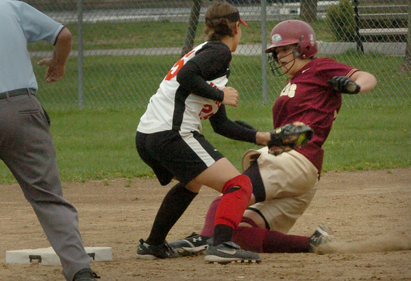 Newburyport: North Andover shortstop has the ball forcing Newuryport's Beth Castantini out at second plate yesterday afternoon at Cashman Park. Bryan Eaton/Staff Photo  Newburyport News  Friday May 1, 2009.