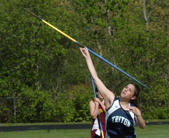 Byfield: Triton's Sam Marino competes in the javelin yesterday in a three-way track meet.Bryan Eaton/Staff Photo  Newburyport News  Wednesday May 13, 2009.
