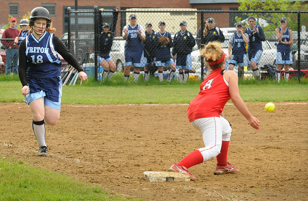 Amesbury: Triton's Marion Dullea heads to first before Amesbury's Anna Kate Webber gets the ball.  Bryan Eaton/Staff Photo  Newburyport News  Thursday May 14, 2009.