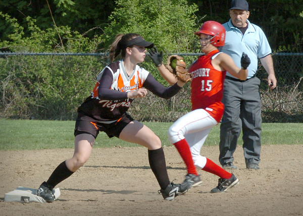 Amesbury: Amesbury's Kerri Salvatore is forced out by the Ipswich shortstop yesterday in Amesbury. Bryan Eaton/Staff Photo Newburyport News  Tuesday May 12, 2009.
