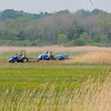 Salisbury: A haying crew works in the marsh on Thursday morning off Salisbury State Reservation with the Richey wind turbine seen in the distance. Bryan Eaton/Staff Photo  Newburyport News  Thursday May 14, 2009.