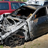 Newburyport: Remains of vehicle involved in a fatal crash on Interstate 95 in Newbury killing a Plaistow man. Bryan Eaton/Staff Photo  Newburyport News  Monday May 11, 2009.