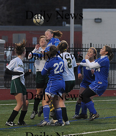 Lynn: Georgetown'sCasey Decareau scores one of her two first half goals against Matignon Wednesday at the Manning Bowl. Jim Vaiknoras/Staff photo